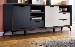 Sideboard Netanja in grau und weiß matt lackiert Kommode mit Wechselfronten und Türen 180° drehbar 180 x 73 cm