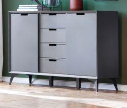 Highboard Netanja in grau und weiß matt lackiert Kommode mit Wechselfronten und Türen 180° drehbar 137 x 92 cm