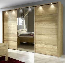 Kleiderschrank Cuman in Eiche teilmassiv Schwebetürenschrank mit Spiegel und Beleuchtung 300 x 236 cm - Sofort lieferbar -