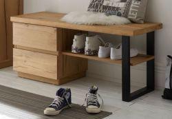Garderoben Sitzbank Yorkshire in Crack Eiche und schwarz lackiert Garderobenbank 108 x 47 cm Flur Diele