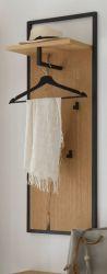 Garderobenpaneel Yorkshire in Crack Eiche und schwarz matt lackiert Wandgarderobe 44 x 125 cm