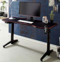 Gamingtisch DX-Racer in schwarz Computertisch 140 x 66 cm Gaming Desk elektrisch höhenverstellbar
