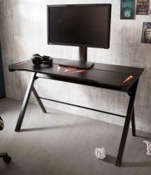 Gamingtisch mcRacing in schwarz Computertisch 120 x 60 cm Gaming Desk mit LED Farbwechsel
