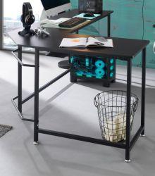 Schreibtisch Maletto in schwarz Laptoptisch für Homeoffice und Büro 168 x 129 cm Eckschreibtisch