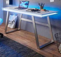 Schreibtisch Tiflis in weiß matt lackiert Laptoptisch für Homeoffice und Büro mit RGB-LED Farbwechsel 140 x 60 cm
