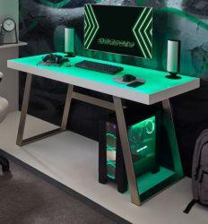 Schreibtisch Tiflis in weiß Laptoptisch für Homeoffice und Büro mit RGB-LED Farbwechsel 140 x 60 cm