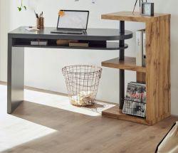 Schreibtisch Moura in grau matt lackiert und Eiche Laptoptisch schwenkbar für Homeoffice und Büro 145 x 50 cm