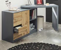 Schreibtisch Mantua in grau matt lackiert und Eiche Laptoptisch schwenkbar für Homeoffice und Büro 108 ( 166 ) x 77 cm