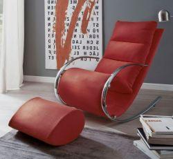 Relaxsessel Schaukelsessel York in rot mit Hocker Funktionssessel 67 x 111 cm Schlafsessel Fernsehsessel