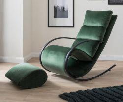 Relaxsessel Schaukelsessel York in grün Samt-Velvet mit Hocker Funktionssessel 67 x 111 cm Schlafsessel Fernsehsessel