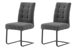 2 x Stuhl Salta in anthrazit Chenille-Optik Freischwinger mit Komfortsitzhöhe und Aqua Clean Esszimmerstuhl 2er Set
