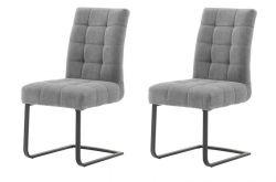 2 x Stuhl Salta in grau Chenille-Optik Freischwinger mit Komfortsitzhöhe und Aqua Clean Esszimmerstuhl 2er Set