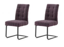 2 x Stuhl Salta in merlot Chenille-Optik Freischwinger mit Komfortsitzhöhe und Aqua Clean Esszimmerstuhl 2er Set