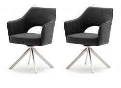 2 x Stuhl Tonala in anthrazit Velours-Optik 4-Fußstuhl 180° drehbar Esszimmerstuhl 2er Set mit Taschenfederkern