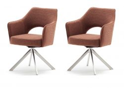 2 x Stuhl Tonala in rostbraun Velours-Optik 4-Fußstuhl 180° drehbar Esszimmerstuhl 2er Set mit Taschenfederkern