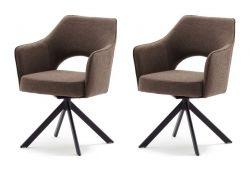 2 x Stuhl Tonala in cappuccino Velours-Optik 4-Fußstuhl 180° drehbar Esszimmerstuhl 2er Set mit Taschenfederkern