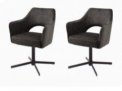 2 x Stuhl Valletta in anthrazit Kreuzfußstuhl mit Armlehne und Komfortsitzhöhe 360° drehbar Esszimmerstuhl 2er Set