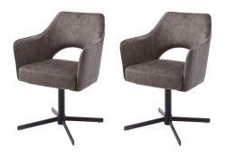 2 x Stuhl Valletta in cappuccino Kreuzfußstuhl mit Armlehne und Komfortsitzhöhe 360° drehbar Esszimmerstuhl 2er Set