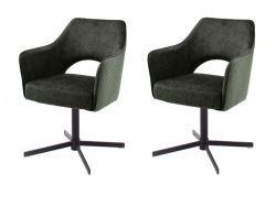 2 x Stuhl Valletta in olive Kreuzfußstuhl mit Armlehne und Komfortsitzhöhe 360° drehbar Esszimmerstuhl 2er Set