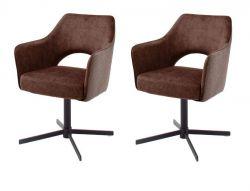 2 x Stuhl Valletta in rostbraun Kreuzfußstuhl mit Armlehne und Komfortsitzhöhe 360° drehbar Esszimmerstuhl 2er Set
