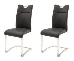 2 x Stuhl Zagreb in anthrazit Leder und Edelstahl Freischwinger mit Komfortsitzhöhe Esszimmerstuhl 2er Set
