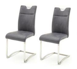 2 x Stuhl Zagreb in grau Leder und Edelstahl Freischwinger mit Komfortsitzhöhe Esszimmerstuhl 2er Set