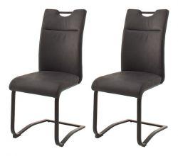 2 x Stuhl Zagreb in anthrazit Leder Freischwinger mit Komfortsitzhöhe Esszimmerstuhl 2er Set