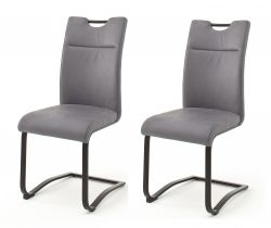 2 x Stuhl Zagreb in grau Leder Freischwinger mit Komfortsitzhöhe Esszimmerstuhl 2er Set