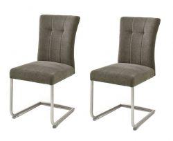 2 x Stuhl Calanda in cappuccino Chenille-Optik Freischwinger mit Komfortsitzhöhe und Aqua Clean Esszimmerstuhl 2er Set