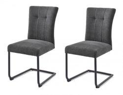 2 x Stuhl Calanda in anthrazit Chenille-Optik Freischwinger mit Komfortsitzhöhe und Aqua Clean Esszimmerstuhl 2er Set