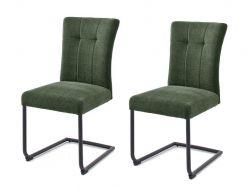 2 x Stuhl Calanda in olive Chenille-Optik Freischwinger mit Komfortsitzhöhe und Aqua Clean Esszimmerstuhl 2er Set