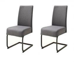2 x Stuhl Esteli in anthrazit Feingewebe Freischwinger mit Komfortsitzhöhe Esszimmerstuhl 2er Set