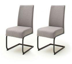 2 x Stuhl Esteli in grau Feingewebe Freischwinger mit Komfortsitzhöhe Esszimmerstuhl 2er Set