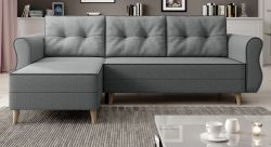 Sofa Marano in grau Ecksofa mit Schlaffunktion und Bettkasten 230 x 76 - 140 cm