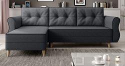 Sofa Marano in anthrazit Ecksofa mit Schlaffunktion und Bettkasten 230 x 76 - 140 cm