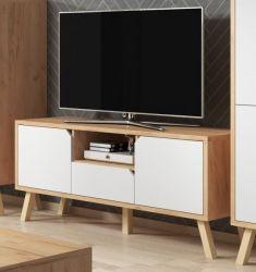 TV-Lowboard Edos in weiß und Eiche Gold TV-Unterteil in Komforthöhe 140 x 70 cm