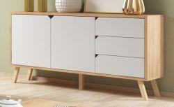 Sideboard Edos in weiß und Eiche Gold Kommode 160 x 80 cm