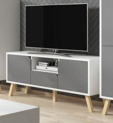 TV-Lowboard Edos in grau und weiß TV-Unterteil in Komforthöhe 140 x 70 cm