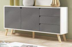 Sideboard Edos in grau und weiß Kommode 160 x 80 cm