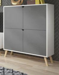 Highboard Edos in grau und weiß Kommode 120 x 140 cm