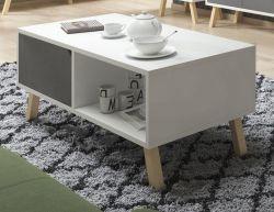 Couchtisch Edos in grau und weiß Beistelltisch 110 x 60 cm