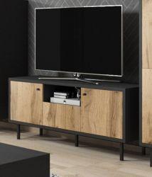 TV-Lowboard Konya in Wotan Eiche und schwarz matt TV-Unterteil in Komforthöhe 140 x 65 cm
