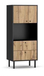 Highboard Konya in Wotan Eiche und schwarz matt Kommode 57 x 135 cm