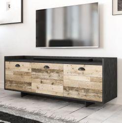 TV-Lowboard Plate in Old Used Wood hell und Matera grau TV-Unterteil 140 x 53 cm