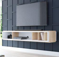 TV-Lowboard Amari in Eiche Gold und weiß TV-Unterteil hängend 153 x 25 cm