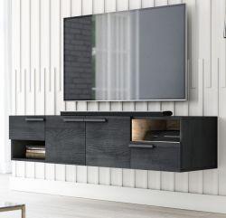 TV Lowboard Odino in Black North und Eiche Gold TV Unterteil hängend / stehend 140 cm