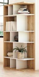 Regal Twice in weiß und Eiche Wotan Bücherregal 80 x 160 cm Raumteiler