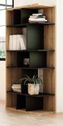 Regal Twice in schwarz und Eiche Wotan Bücherregal 80 x 160 cm Raumteiler