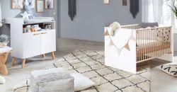 Babyzimmer Mats in weiß matt mit Buche massiv Set 2-teilig mit Wickelkommode und Babybett