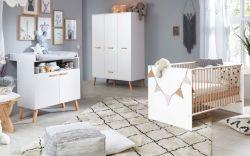 Babyzimmer Mats in weiß matt mit Buche massiv komplett Set 3-teilig mit Wickelkommode Kleiderschrank und Babybett